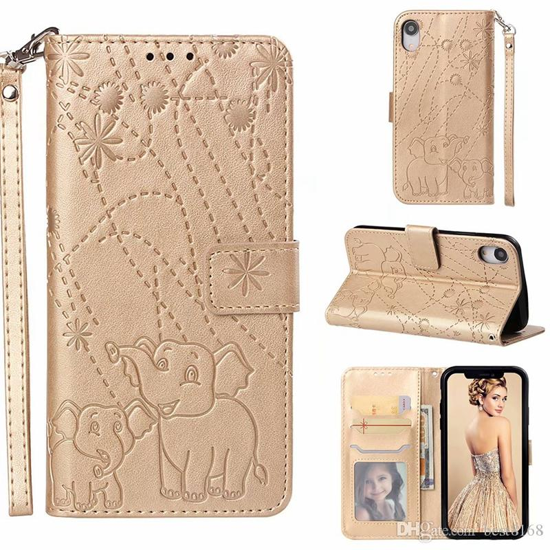 Leather Wallet Case For LG Stylo 4 G7 K8 2018 Google Pixl 3 XL Moto G6 Plus Fireworks Card Frame Imprint Flip Cover Magnetic Elephant Flower