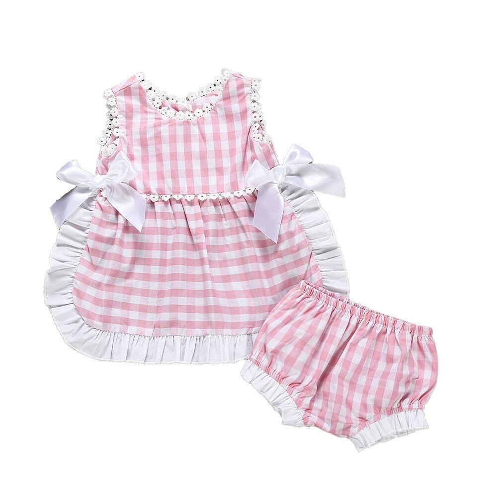 cdf45681c Newborn Baby Girls Clothes Set Summer Kid Plaid Outfit Infant Ribbon Backless  Top+Shorts Toddler Baby Princess Outfit 0-24M