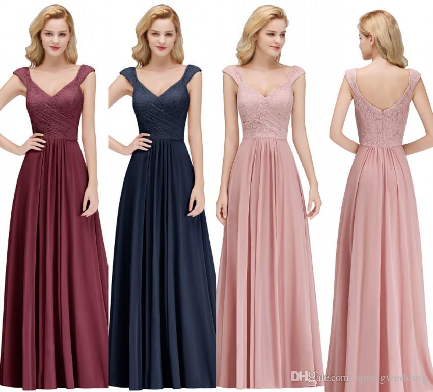 1306ca4b32d 2019 Cap Sleeve Chiffon Long Bridesmaid Dresses Lace Top Ruched Floor Length  Wedding Guest Maid Of Honor Party Dress 100% Real Image BM0055 Modest ...