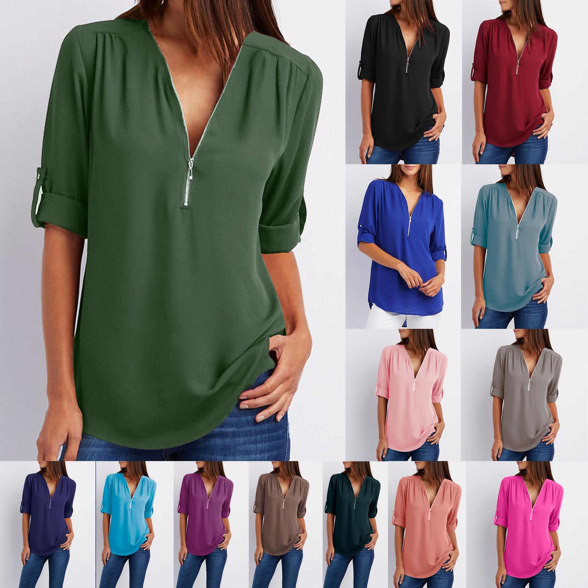 ecd6b3d5ddd Women S Summer V Neck Solid Loose Casual Tees Cuffed Long Sleeve Blouses  Ladies Low Cut Sexy Chiffon Material Top Shirts UK 2019 From Mindai