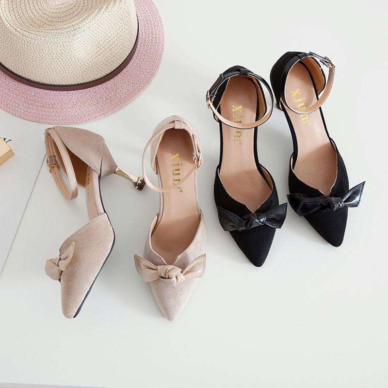 5dc19ca83b0 New Women High Heels Fashion Solid Color Bow Square Toe Thin Heels High  Heeled Sexy Female Size 35 39 Sandalias Mens Dress Boots Men Sandals From  Deal22
