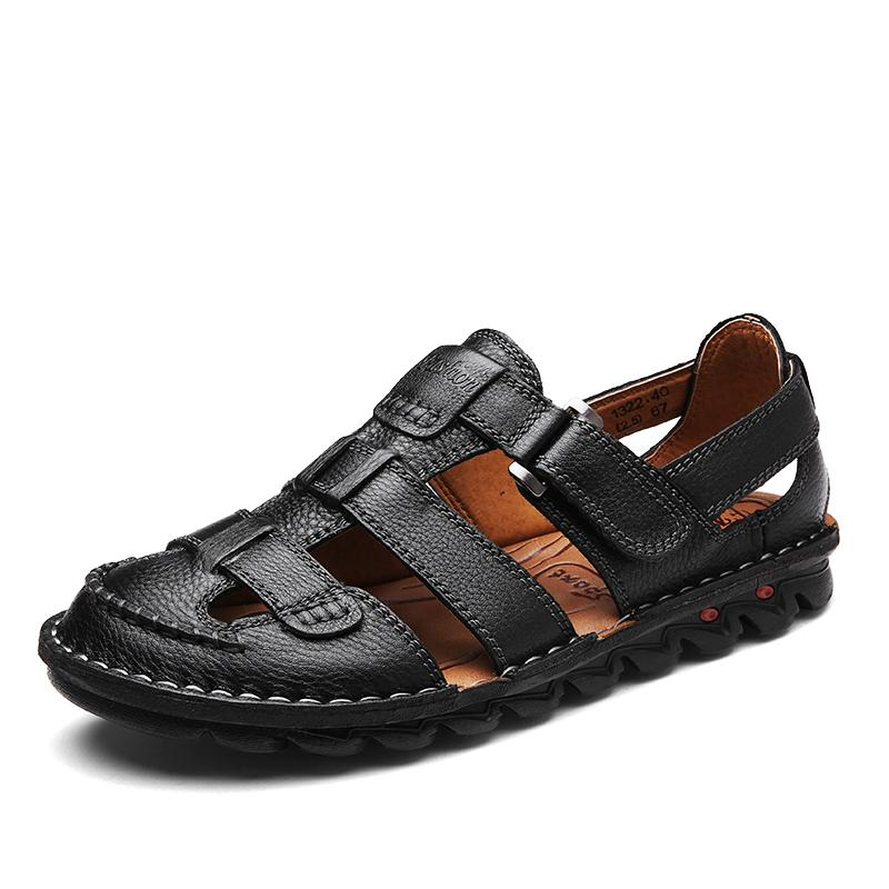 f24e9a808649 Large Size Men Fashion Beach Sandals Covers Toe Genuine Leather Summer  Sandal Mans Outdoors Flat Shoes Sandalia Hombre Chaussure Sandal Ladies  Shoes From ...