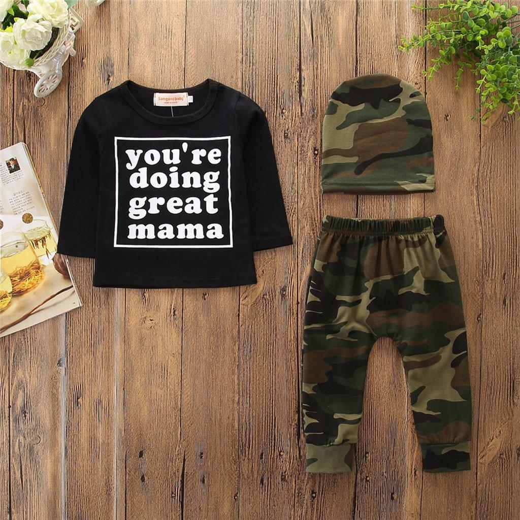 1ea7fa659 2019 Baby Boy Clothes Set Long Sleeve Camouflage Pants Hat Toddler Infant  Suit Newborn Baby Girl Boy Clothes 2018 New From Cassial, $20.25 |  DHgate.Com