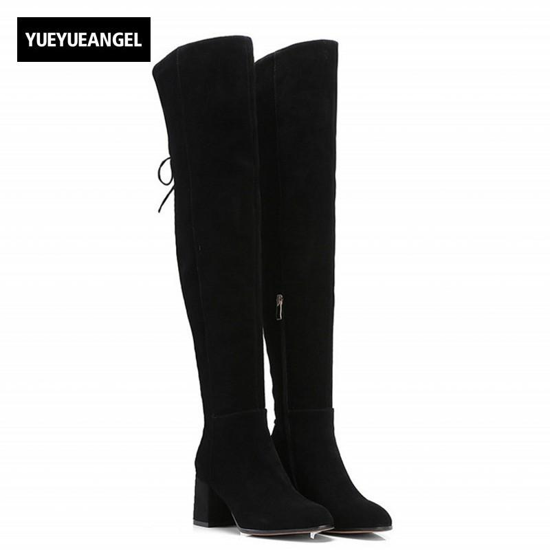 f3c657bf5924 Thigh High Boots Woman Back Lace Up Zip Black High Heel Punk Long Boots  Female Designer Winter Cow Suede Leather Ladies Shoes Brown Boots Winter  Boots For ...