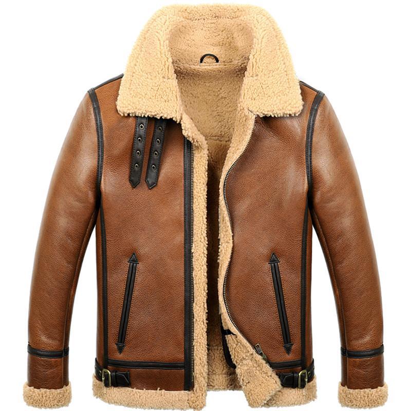 ea1a35322 Mens Sheepskin Shearling Coat B3 B6 Mens Sheepskin Bomber Jacket Short  Aviator Fur Coat Brown Color