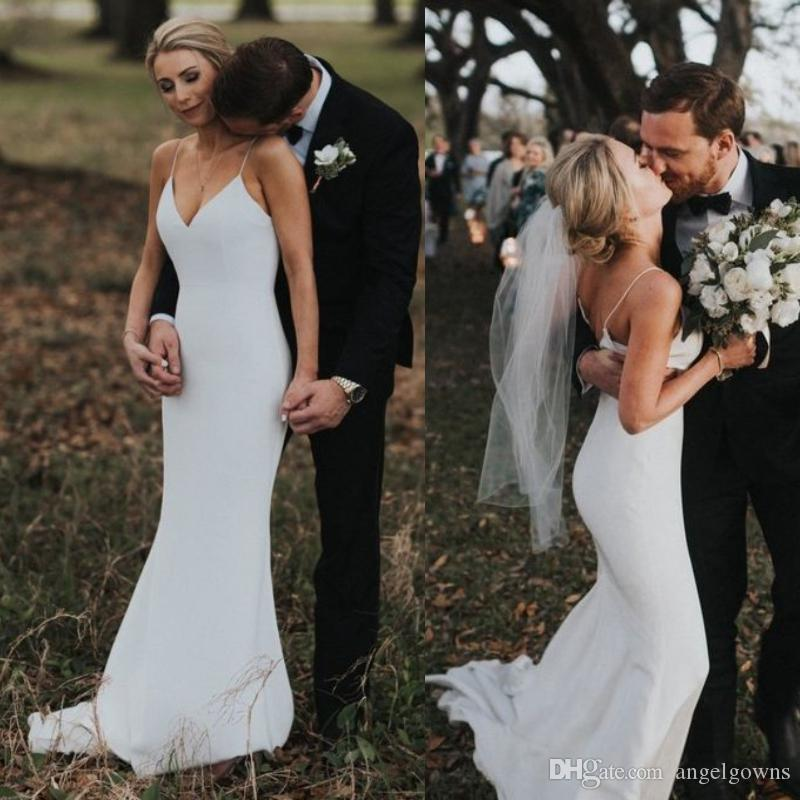 Bohemian Style Spaghetti Rustic Wedding Dresses Long New 2019 Simple Sheath Straps Ivory Satin Country Beach Boho Bridal Gowns Cheap