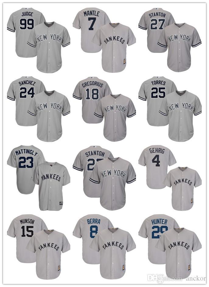 8813ee68c New York 99 Aaron Judge Yankees Baseball Jersey 27 Giancarlo Stanton ...