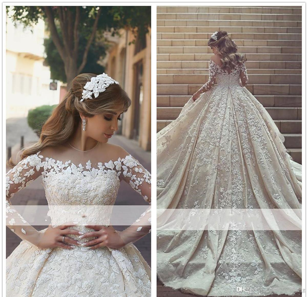 2019 Arabic Princess Sheer Long Sleeves Wedding Dress Ball Gown Lace Appliques Church Formal Bride Bridal Gown Plus Size Custom Made