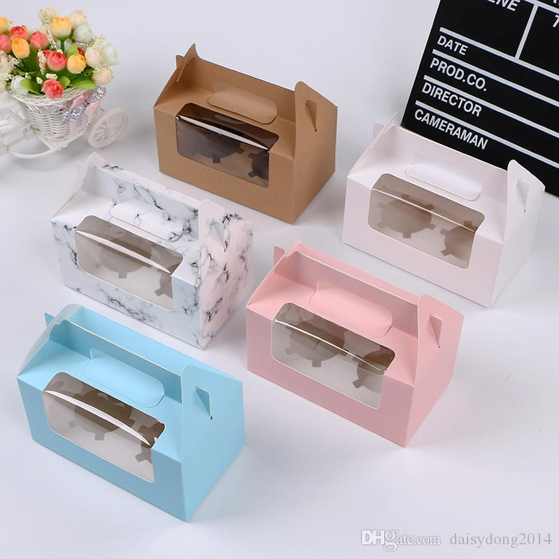 Portable Handle Double Cavity Cupcake Box Pure Color & Marble Pudding Cup Holder Wrapper Boxes with Inlay Wholesale