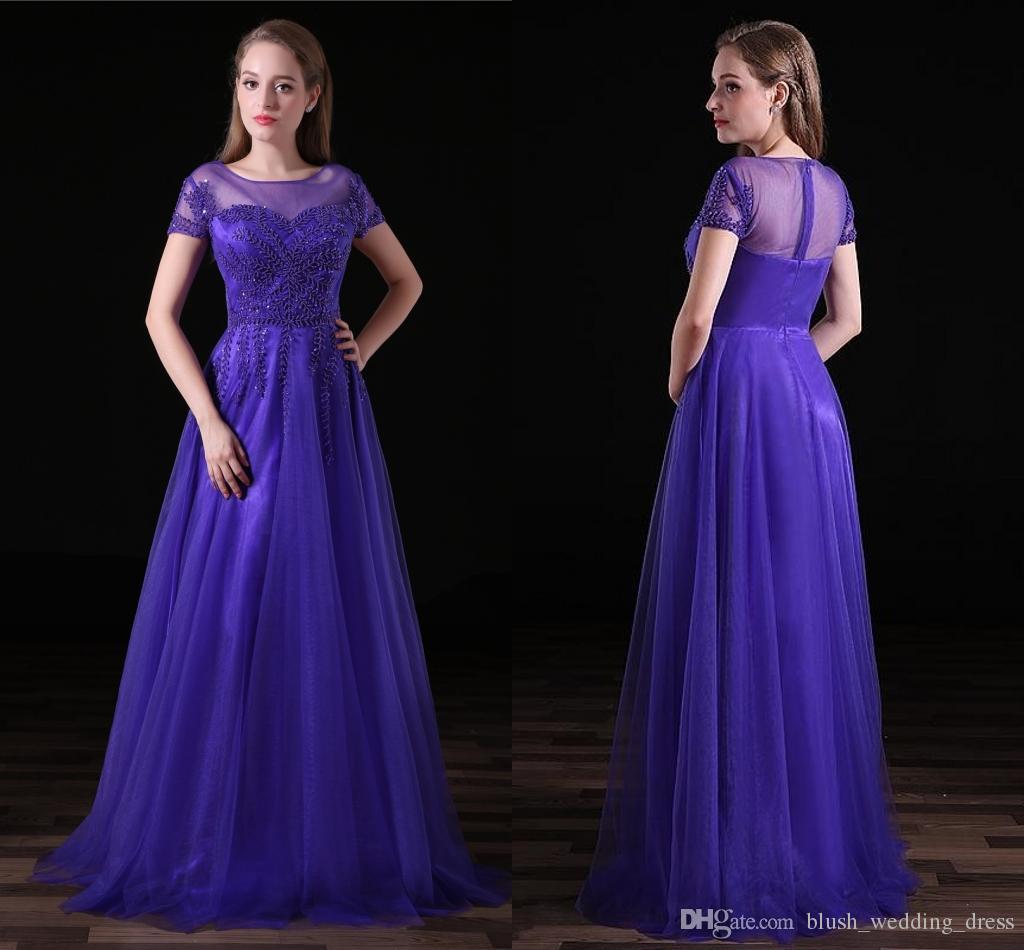 e2dd89243 Elegante púrpura niñas Dresess cuello circular de manga corta con rebordear  una línea de tul vestidos de noche formales largos para las mujeres ...