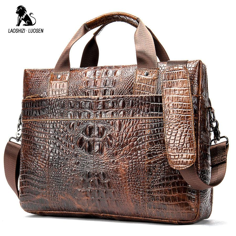 b685c1d42ca 2019 Luxury Men's Briefcase Crocodile Genuine Leather Business Handbag for  14' Laptop Casual Shoulder Bag Vintage Messenger Bags