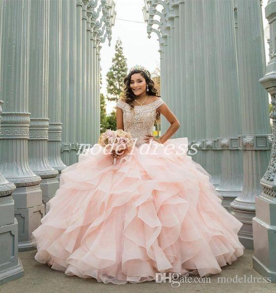 a4f0ebe178f55 2019 Pink Ball Gown Quinceanera Dresses Off Shoulder Hollow Back Cascading  Ruffles Beads Prom Party Gowns For Sweet 15 Plus Size Quinceanera Websites  Red ...