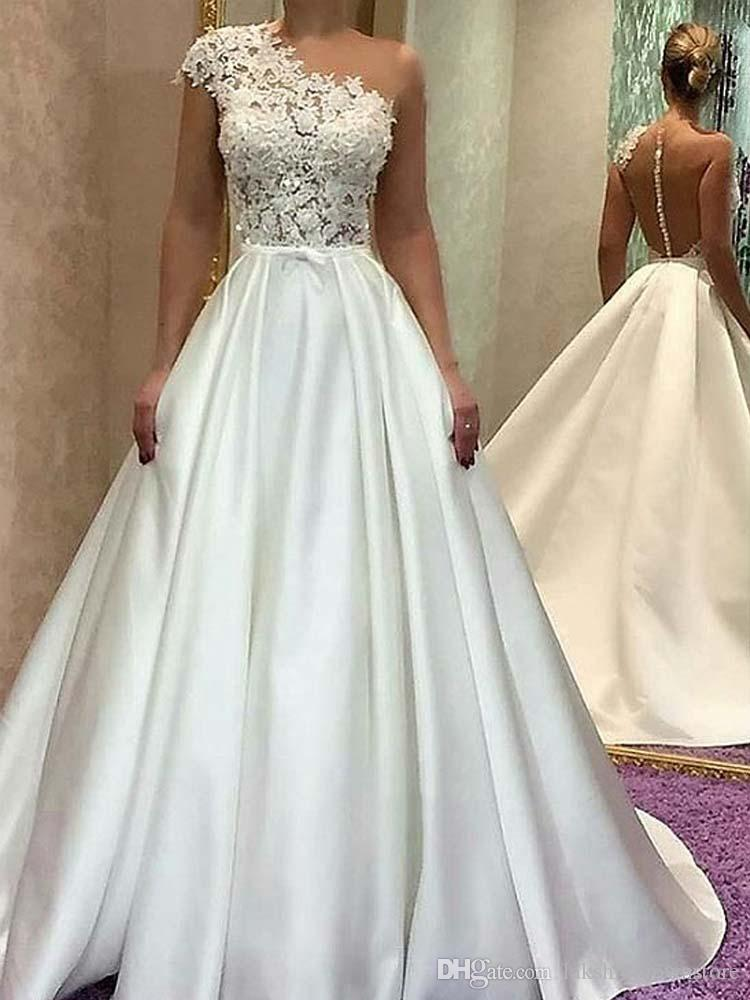 Discount Elegant One Shoulder Ivory Satin Wedding Dresses Lace Long