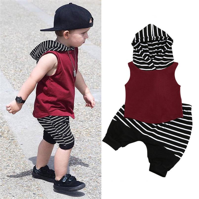 0323516aa095 2019 Summer Boys Clothes Toddler Kids Baby Boy Hooded Vest Tops+Shorts  Pants Outfits Clothes Set NDA84L18 From Zerocold01