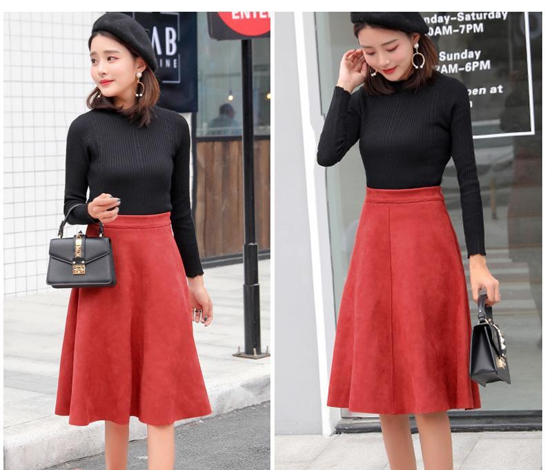 dbf2894a8 Suede mujeres cintura alta Midi falda 2019 invierno Vintage estilo plisado  Ladies A Line falda flare negro Saia Femininas S1802