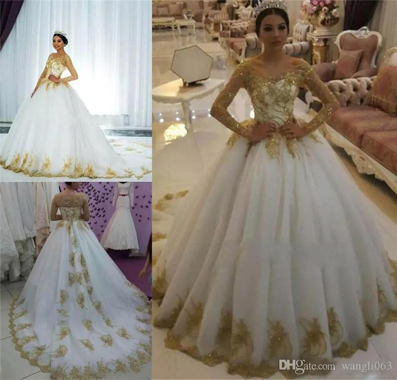 Gorgeous Ball Gown Wedding Dresses 2019 Off Shoulder Gold Appliques Beaded Tulle Saudi Arabic Wedding Dresses Plus Size Bridal Gowns