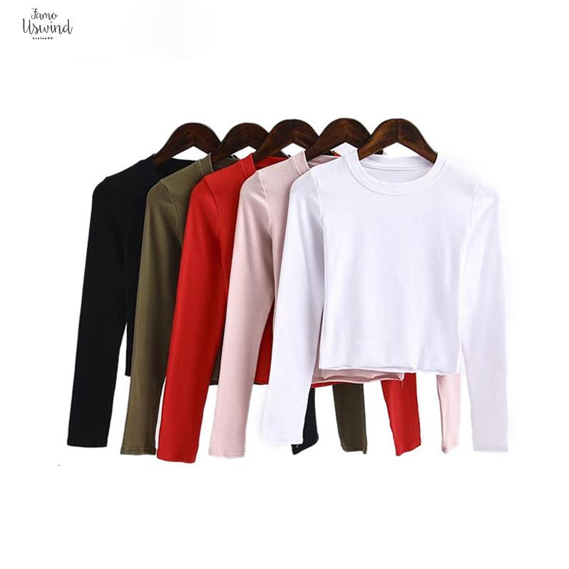 Fashion Solid Crop Tops Women Spring Long Sleeve T-Shirt Crew Neck O-Neck Girl Stretch Slim Short Tee Casual Streetwear