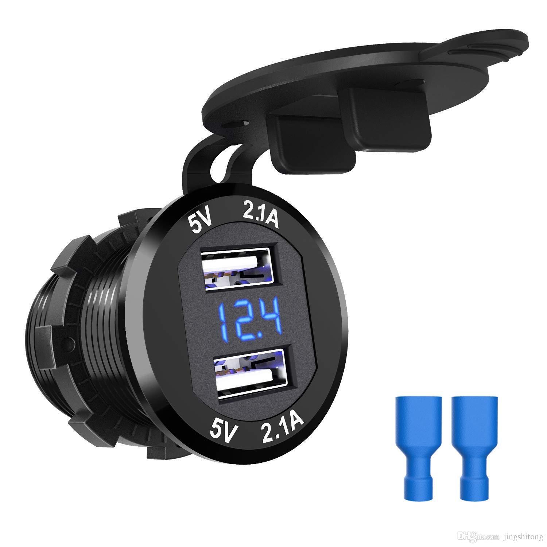 Schema Elettrico Voltmetro Per Auto : Caricabatterie da auto 12v alluminio impermeabile 4.2a dual usb