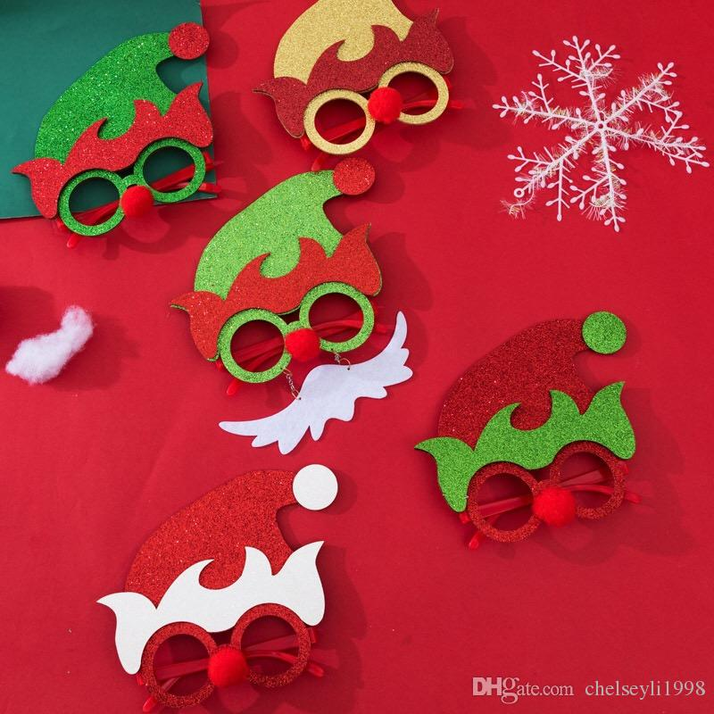 Hot Sale Christmas Decorations Glasses Hand-made Santa Glasses Frame Christmas Party Costume Props for Adult and Kids