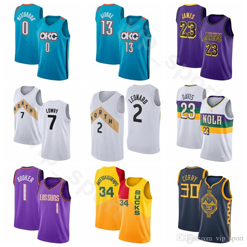 promo code e1fc7 ff27f Edition City Basketball Russell Westbrook Jersey 0 Paul George 13 Devin  Booker 1 Kawhi Leonard 2 Kyle Lowry 7 Anthony Davis 23 Antetokounmpo