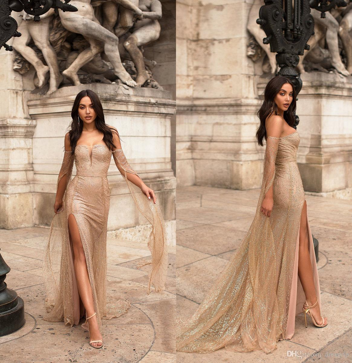 6d7f7daf030 Gold Evening Dresses Off The Shoulder Bling Glitter Sweep Train Side Split  Sexy Prom Dress Long Sleeves Custom Made Formal Party Gowns Summer Evening  Dress ...