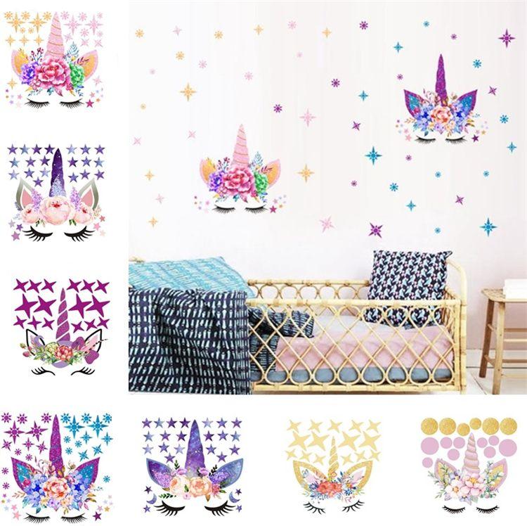 Three style DIY Unicorn Stickers Cartoon Star Wall Stickers star flower  wall sticker Children\'s Bedroom Wall Sticker T6I6003