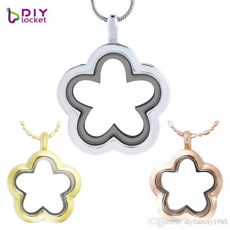 5PCS Silver Flower glass floating charm locket Zinc Alloy (chains included for free) LSFL010