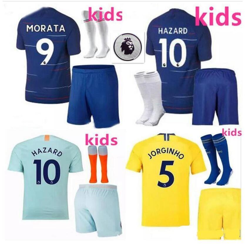 e9508d560317 18 19 Jerseys Soccer Kids Boys GIROUD MORATA HAZARD Children ...