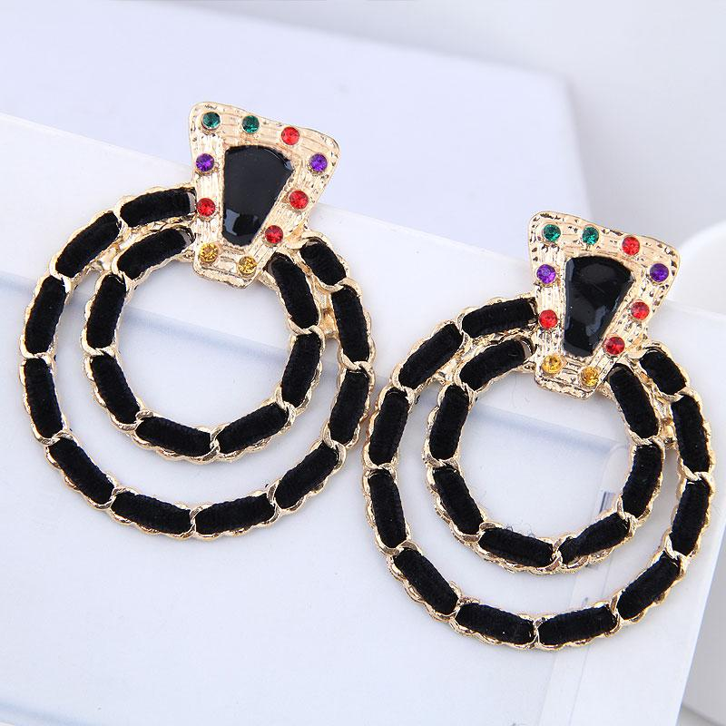 2018 Bohemian Stud Earrings for Women Fashion Jewelry Vintage Rope Chain Boucle D'oreille Femme Gold Color Earring