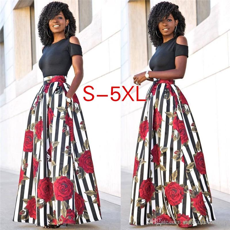 048723e25e 2019 Two Pieces Women Maxi Dresses Short Sleeve Black Top With Long Striped  Rose Pattern Floral Party Dresses Plus Size 5XL CL369 From Vivifashionshop,  ...