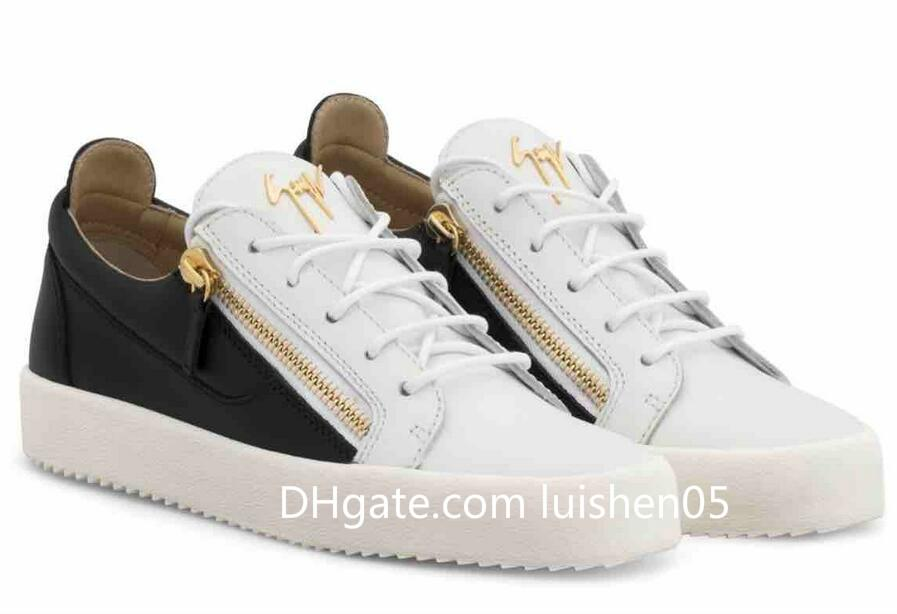 best place best deals on 100% authentic NEW Zanotti Italy Designer Shoe Genuine Leather Casual Shoe Golden Zipper  Men and Women Low Top Luxury Sneakers Trainers 35-47 b1102