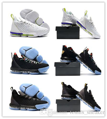 145c08f8c9e66 2019 LeBron 16 Watch The Throne Men Basketball Shoe Jame 16 White Multi  Color Hyper Grape Volt 3M Reflect light Men Designer Sneakers AO2588 102  From ...