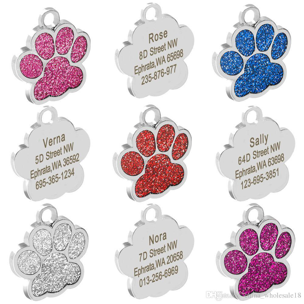 Personalized Dog Tags Engraved Cat Puppy Pet Id Name Collar Tag Pendant Pet Accessories Bone Paw Glitter
