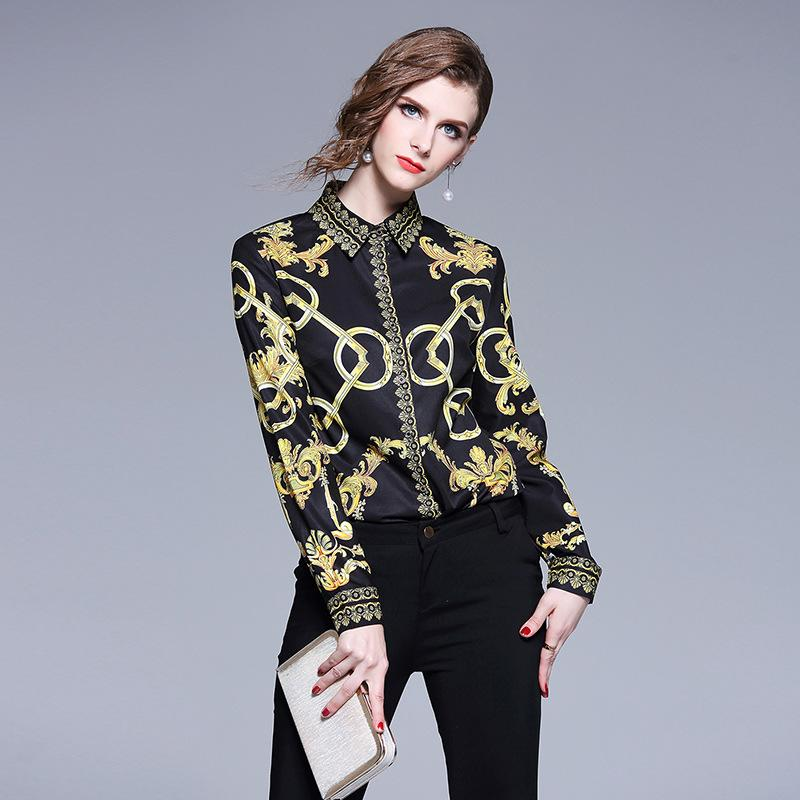 b61400e79f24 2019 2019 Lady Formal Shirt OL Work Career Black Tee Shirts Long Sleeve  Slim Print Vintage Blouse From Sinofashion
