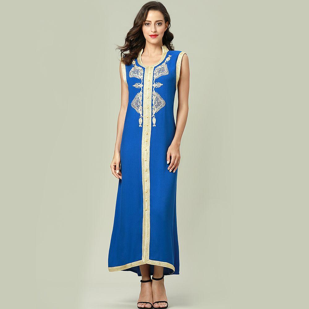 3f9abf79212 Omen S Clothing Dresses Women Islamic Clothing Maxi Sleeveless Long Dress  Moroccan Kaftan Embroidery Dress Vintage Abaya Muslim Robes Gow.