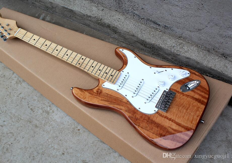 standard Factory Brown Electric Guitar with Mahogany Body,White Pickguard,SSS Pickups,Chrome Hardware,Can be customized