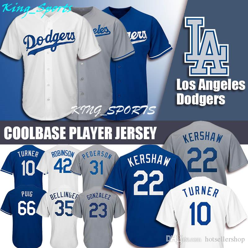 6b606379805 2019 Dodgers Majestic Coolbase Jersey 22 Clayton Kershaw 10 Justin Turner 14  Enrique Hernandez 31 Mike Piazza 42 Jackie Robinson From Hotsellershop