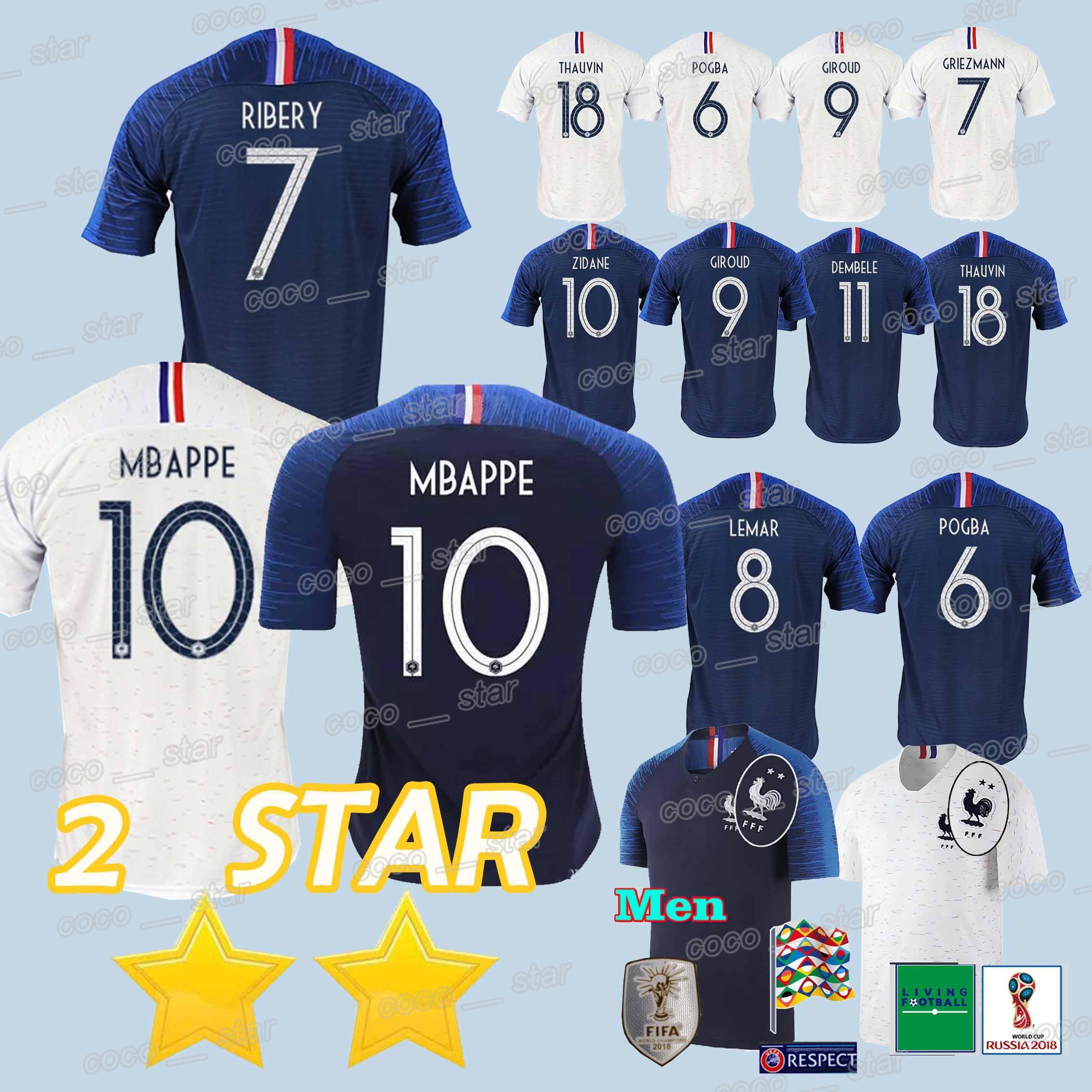 new styles 93142 c1c1e 2018 world cup MBAPPE POGBA GRIEZMANN soccer jersey DEMBELE MARTIAL KANTE  GIROUD new Football jerseys 2 Stars