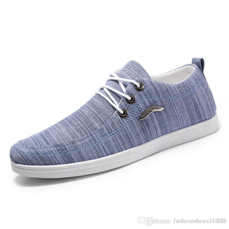 164fcedfc32a 2019 Fashion Mens Casual Shoes Outdoor Canvas Casual Lace Up Shoes Lazy Shoes  Breathable Trainers Sneakers Blue Chaussures Homme HGJK BD Green Shoes Most  ...
