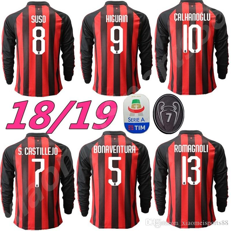 8f792a094b600 18 19 AC Away Milan 9 HIGUAIN Camiseta De Fútbol De Manga Larga 2018 2019 Ac  Home Camiseta De Manga Larga BAKAYOKO BORINI CALDARA CUTRONE Por ...