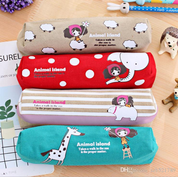 Wholesale 2019 Korean version of Pula girl square pencil bag student cartoon stationery creative pencil case