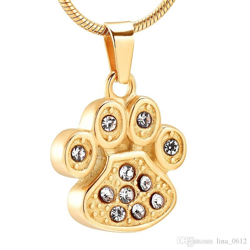 IJD9756 Cute Mini Paw Print Gold Stainless Steel Cremation Urn Pendant Necklace,Dog Cat Memorial Ashes Jewelry Urns