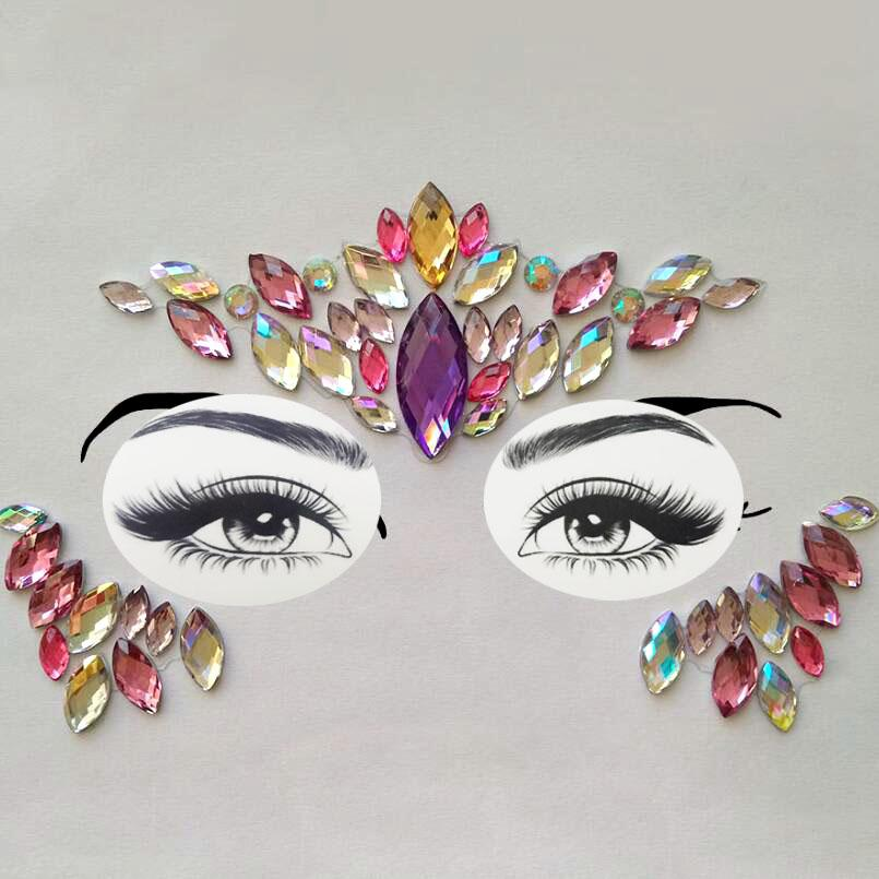 751d30426 Adhesive Face Gems Rhinestone Temporary Tattoo Jewels Festival Party Body  Glitter Stickers Flash Temporary Tattoos Sticke Body Jewelry Temporary  Tattoos ...