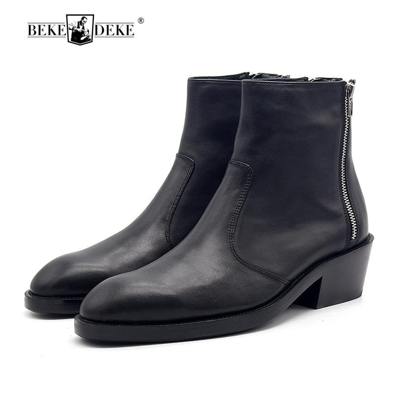 European Mens Shoes Genuine Leather Autumn Winter High Heeled Boots Men Three Zipper Increase Pointed Booties Man Handmade 34-45