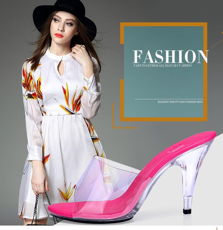 Shoes Woman 2017 Summer Sandals Slippers Sexy High - heeled 7cm Model Catwalk Transparent Glass Crystal Slippers