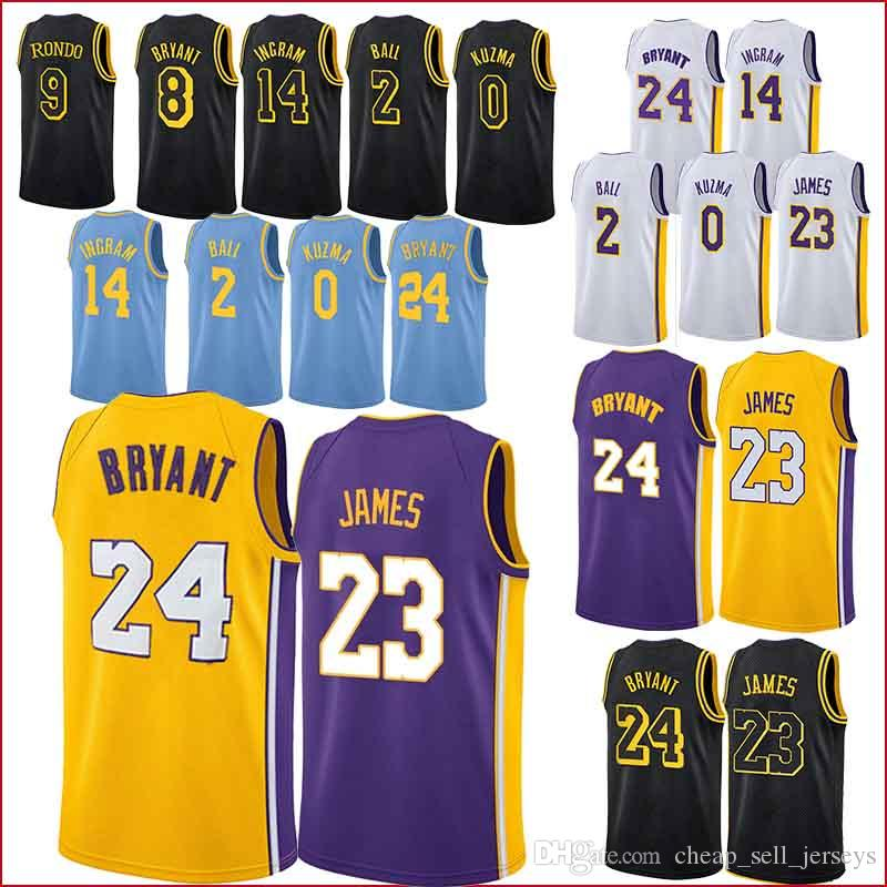 6a858913ee6 2019 Los Angeles 23 LeBron James Laker Kobe 24 Bryant Kyle 0 Kuzma Lonzo 2  Ball Besketball Jersey From Cheap_sell_jerseys, $19.77 | DHgate.Com