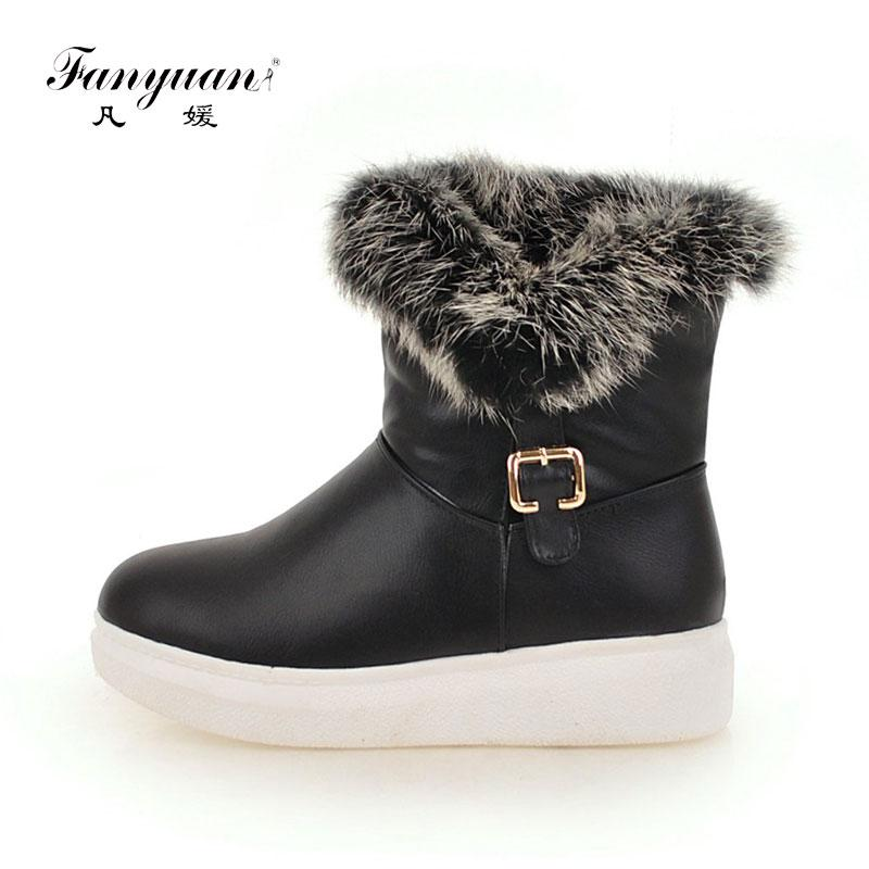 Fanyuan Comfort Flat Platform waterproof Warm Plush Snow Boots Fashion Solid belt buckle Winter Boots Women Shoes Bottes femmes