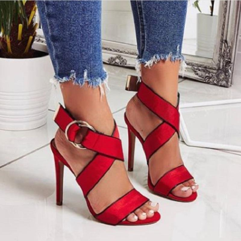 Dames Sandalias Mujer Hauts De Zapatos Sandales D Ouvert Croix Gladiateur Strapetto Rouge Femmes Chaussures Noir Été Talons Bout kP8wn0O