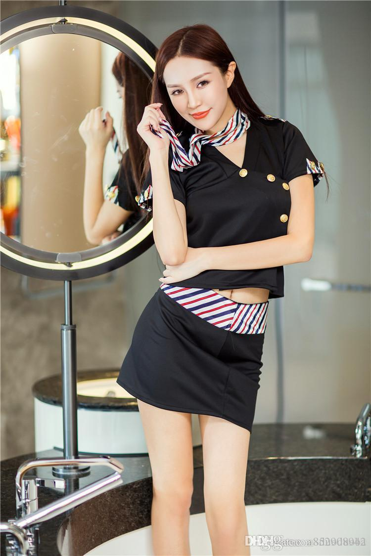 2019 Popular style New lingerie night dress DS stage dress sex uniform character seductive elegant stewardess