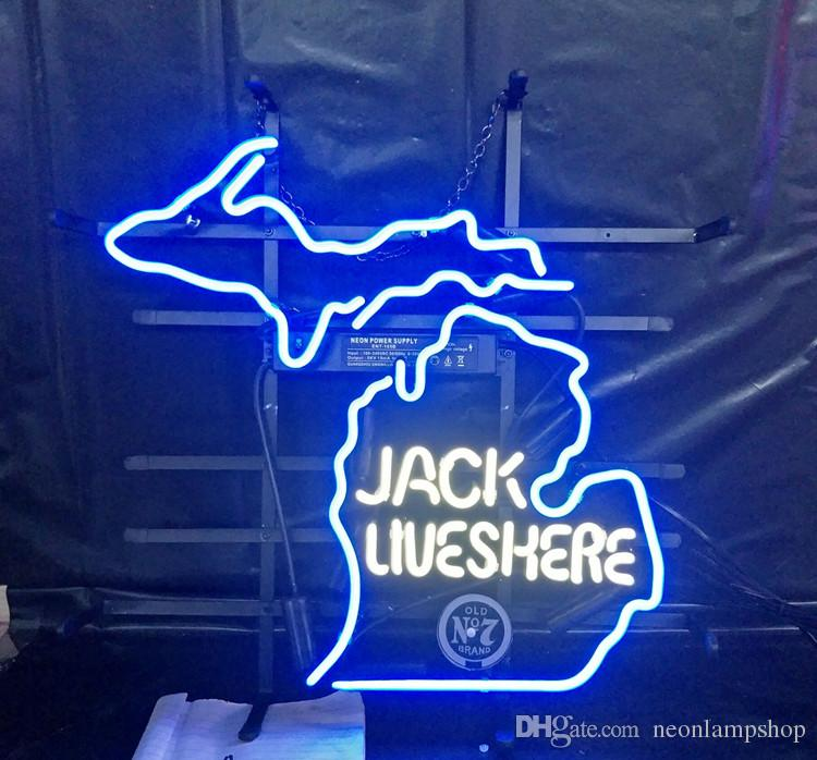 JACK LIVES HERE Neon Sign Lamp Design Beer Advertising Decoration Art Gift Display Real Glass Neon Light Metal Frame 17'' 24'' 30''40''